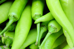 Many green chili peppers, Food raw material Stock Photo
