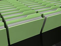 Many Green folders with papers. An illustration of many standing green folders with papers on a black  background Royalty Free Stock Photo