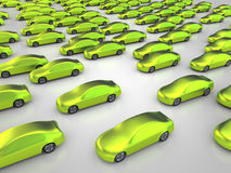 Many green nonpolluting cars. 3D rendering: many green cars Stock Photo