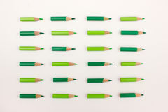 Many green pencils ordered point to the right Stock Image