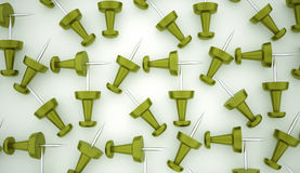 Many green push pins rendered Royalty Free Stock Images