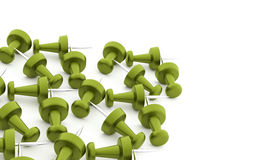Many green push pins rendered on white Stock Photo