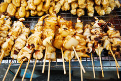 Many of grilled squid in fresh market Royalty Free Stock Photography