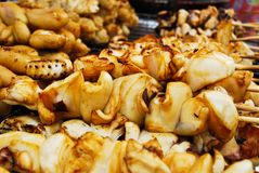 Many of grilled squid in fresh market Stock Images