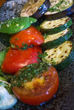 Many grilled vegetables on the black plate Royalty Free Stock Photography