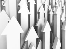 Many Growing Up Rising White Arrows. Success Concept Stock Image