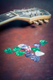 Many guitar picks plectrum in different colors Royalty Free Stock Photography