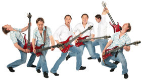 Many guitarists group isolated Stock Images