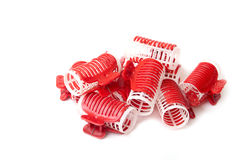 Many Hair curlers. Over a white background Royalty Free Stock Image