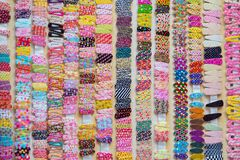 Many hairpins or hairclips as a background. Selective focus image stock photo
