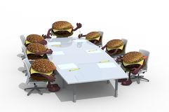 Many hamburger meeting around the table and follow their boss Stock Photo