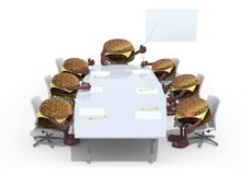 Many hamburger meeting around the table and follow their boss Royalty Free Stock Photos