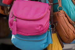 Many hand bag leather woman bags at the shop Stock Photo