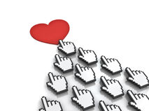 Many hand cursors mouse clicking red heart button or link concept Royalty Free Stock Images