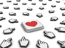 Many hand cursors mouse clicking red heart button Royalty Free Stock Images
