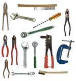 Many hand tools. Work tools you may find in a metal workers toolbox Stock Photo