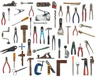 Many hand tools. Work tools you may find in a toolbox Royalty Free Stock Image