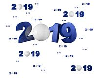 Many Handball 2019 Designs with many Balls. On a White Background Royalty Free Stock Images