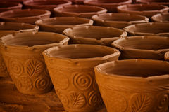 Many handmade clay pots Stock Photos
