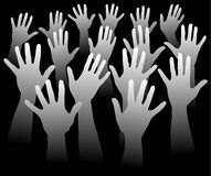 Many hands. Illustration with  many hands raised Stock Image