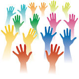 Many hands. Illustration with  many hands raised Royalty Free Stock Image