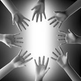 Many hands. On bright background Stock Photo