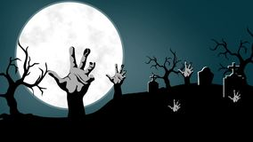 Hands coming out from the graves.