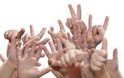 Many hands in confusion Royalty Free Stock Photos
