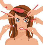 Many Hands With Cosmetics Brush Doing Makeup of Stock Photography