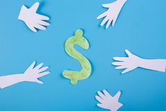 Many hands extended to money. Cartoon styled royalty free stock images