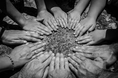 Many hands. Forming a circle royalty free stock photography