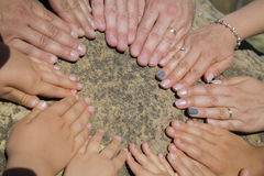 Many hands. Forming a circle royalty free stock images