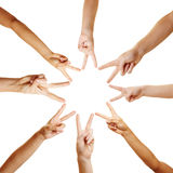 Many hands forming a star Stock Images