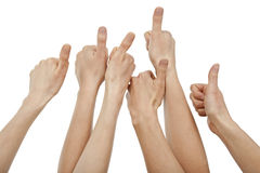 Many hands giving thumbs up Royalty Free Stock Photos