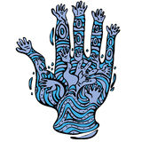 Many hands and hand with tattoo Royalty Free Stock Images