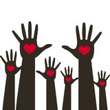 Many hands with heart up over blue background. Vector illustration with heart emblem icon for education, health care, medical, vol. Unteer, vote Royalty Free Stock Photography