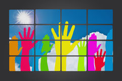 Many hands high up Stock Images