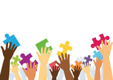 Many hands holding colorful puzzle pieces. Vector illustration Royalty Free Stock Photography