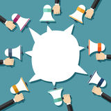 Many hands holding megaphone with bubble speech. Royalty Free Stock Images