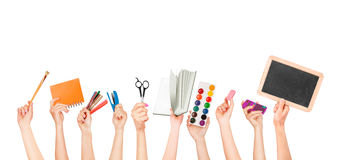 Many hands holding the office items stock illustration