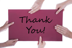 Many Hands Holding A Paper With Thank You Stock Photos