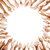 Many hands holding thumbs up Royalty Free Stock Photos