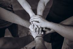 Many Hands Joined Together. Black and white. Team Concept. Many Hands Joined Together. Black and white. Team Concept royalty free stock photo