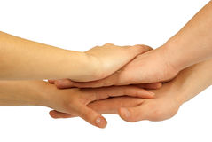 Many hands lying on top of each other Royalty Free Stock Image