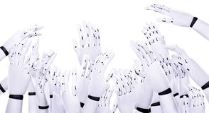 Many hands make light work. Cut out of many robot hands reaching up in the air trying to grab something Stock Photo
