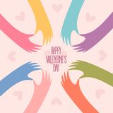 Many hands making a heart. Happy Valentines day. Happy Valentines Day card design. Many hands making a heart shape with fingers in a circle form. Romantic Royalty Free Stock Image