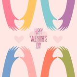 Many hands making a heart. Happy Valentines day. Happy Valentines Day card design. Many hands making a heart shape with fingers. Romantic colourful vector Stock Photo