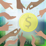 Many hands point to the gold dollar coin Royalty Free Stock Image