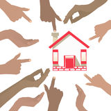 Many hands point to the house. on a white background Royalty Free Stock Photo