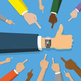 Many hands point to smart watch on blue Stock Image